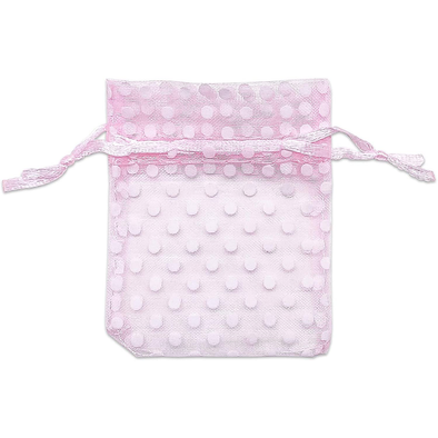 Pink with White Polka Dot Organza Drawstring Pouch Gift Bags
