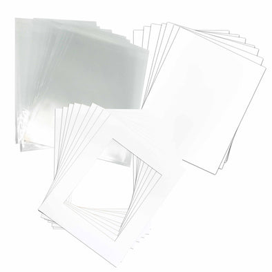 "Pack of 5 White Pre-Cut 16""x20"" Inches for 11""x14"" Picture Mat"