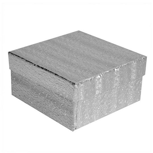 "3 3/4""Wx3 3/4""Dx2"" Silver Foil Cotton Filled Jewelry Boxes"