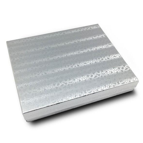 "6 1/8"" x 5 1/8"" Silver Cotton Filled Boxes"