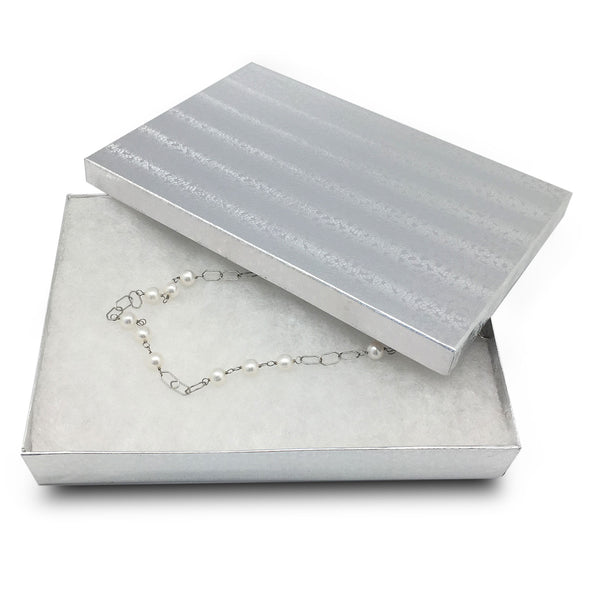 "8"" x 5"" x 1 1/4"" Silver Cotton Filled Paper Box"