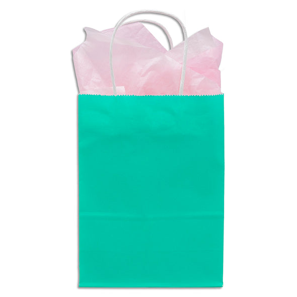Teal Green Kraft Paper Shopping Gift Bags
