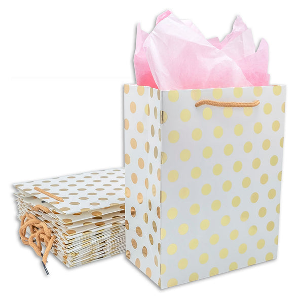 White and Gold Polka Dot Gift Bags