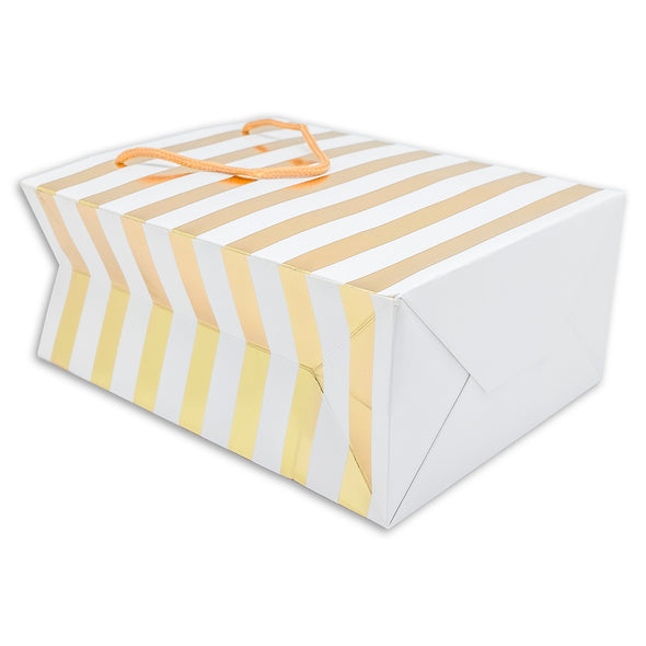 White and Gold Striped Gift Bags