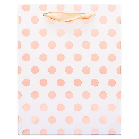 White and Rose Gold Polka Dot Gift Bags