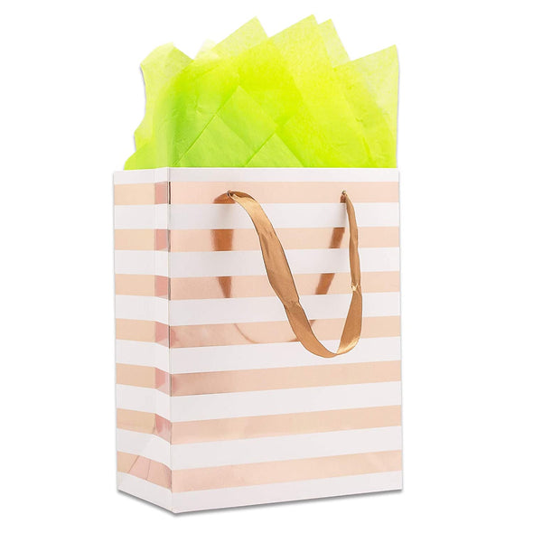 White and Rose Gold Striped Gift Bags
