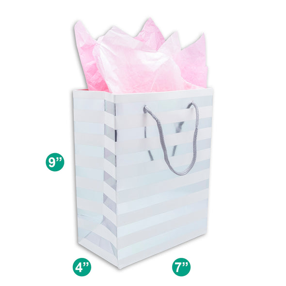 White and Silver Striped Gift Bags