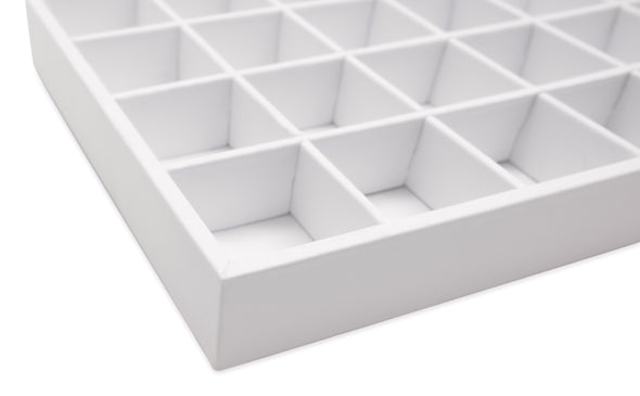 White Leatherette 32 Compartment Stackable Jewelry Tray