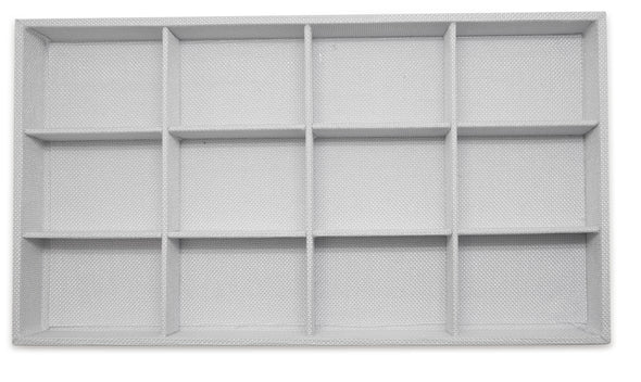 White Linen 12 Compartment Stackable Jewelry Tray