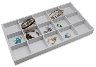 White Linen 15 Compartment Stackable Jewelry Tray