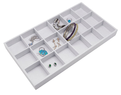 White Linen 18 Compartment Stackable Jewelry Tray