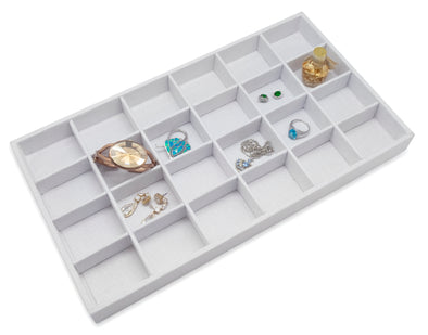 White Linen 24 Compartment Stackable Jewelry Tray