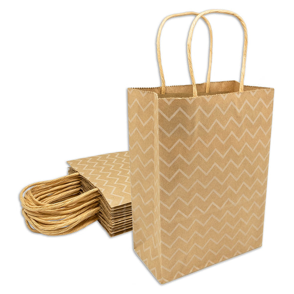 White Wave Kraft Paper Shopping Gift Bags
