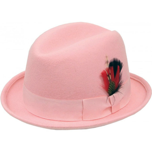 Pink Wool Hat with Center crease crown