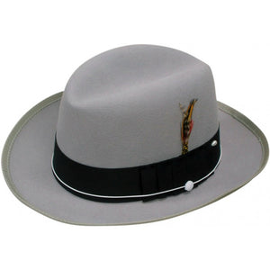 Gray Wool Hustler Brim with Satin inside liner top - Chicano Spot