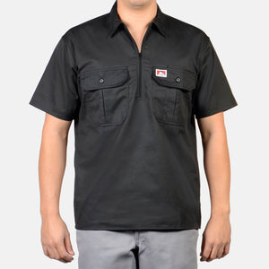 Short Sleeve Button Pocket, 1/2 Zip – Black - Chicano Spot