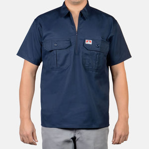 Short Sleeve Button Pocket, 1/2 Zip – Navy - Chicano Spot