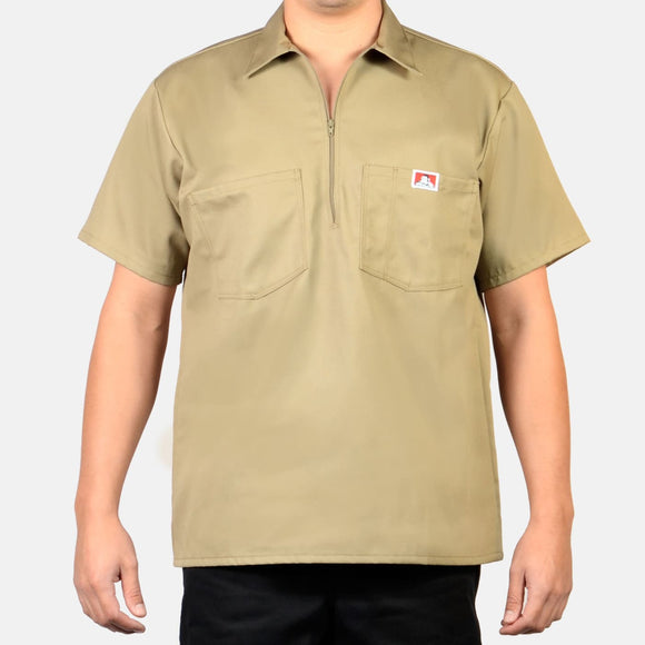 Short Sleeve Solid, 1/2 Zip – Khaki - Chicano Spot