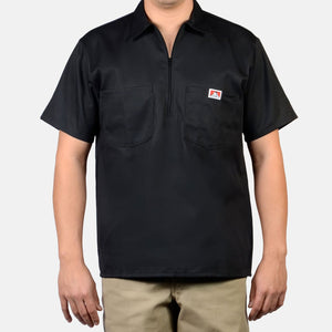 Short Sleeve Solid, 1/2 Zip – Black Ben Davis - Chicano Spot