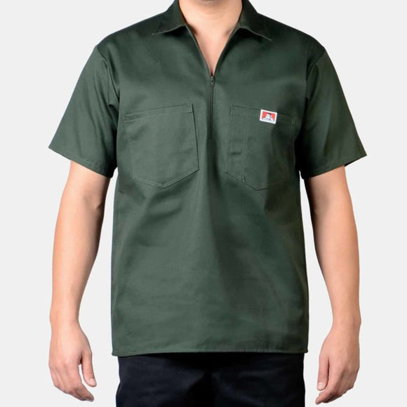 Short Sleeve Solid, 1/2 Zip – Olive - Chicano Spot