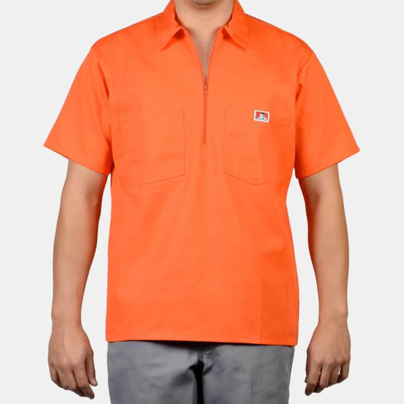 Short Sleeve Solid, 1/2 Zip – Orange - Chicano Spot