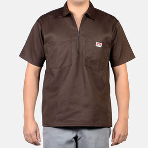 Short Sleeve Solid, 1/2 Zip – Brown - Chicano Spot