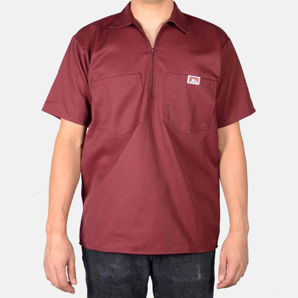 Short Sleeve Solid, 1/2 Zip – Burgundy - Chicano Spot