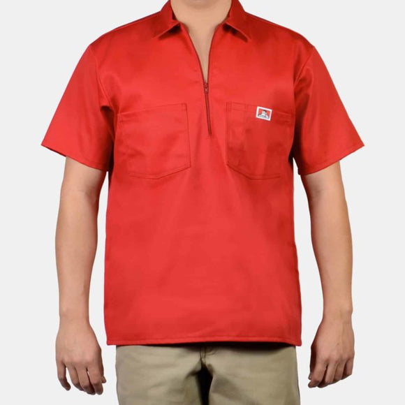 Short Sleeve Solid, 1/2 Zip – Red - Chicano Spot
