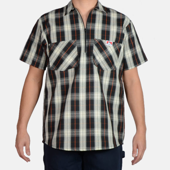 Short Sleeve Plaid, 1/2 Zip – Black/Cream - Chicano Spot