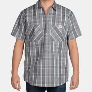 Short Sleeve Plaid, 1/2 Zip – Grey/Black - Chicano Spot
