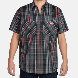 Short Sleeve Plaid, 1/2 Zip – Black/Grey/Red - Chicano Spot