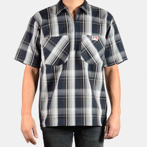 Short Sleeve Plaid, 1/2 Zip – Navy/Grey - Chicano Spot