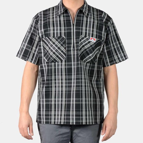 Short Sleeve Plaid, 1/2 Zip – Black/White - Chicano Spot