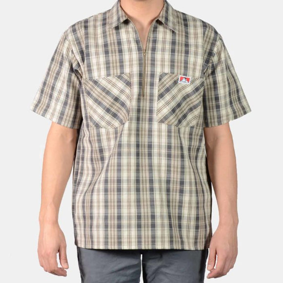 Short Sleeve Plaid, 1/2 Zip – Khaki/Grey - Chicano Spot