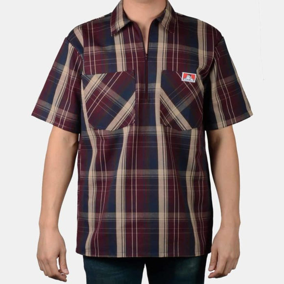 Short Sleeve Plaid, 1/2 Zip – Burgundy - Chicano Spot