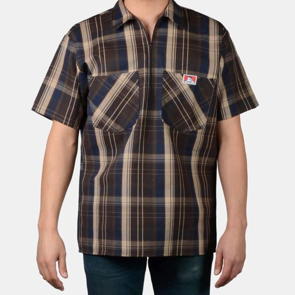 Short Sleeve Plaid, 1/2 Zip – Brown - Chicano Spot