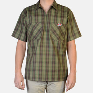 NEW! Short Sleeve Plaid, 1/2 Zip – Olive - Chicano Spot