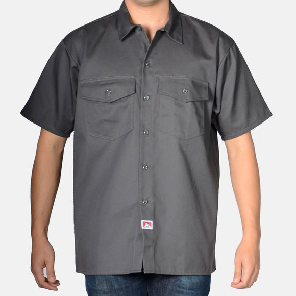 Short Sleeve Solid Button-Up – Charcoal - Chicano Spot