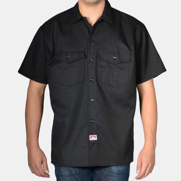 Short Sleeve Solid Button-Up – Black - Chicano Spot