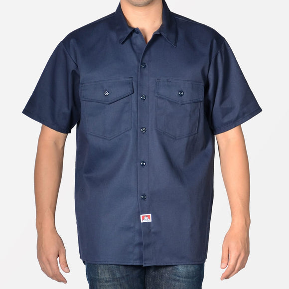 Short Sleeve Solid Button-Up – Navy - Chicano Spot