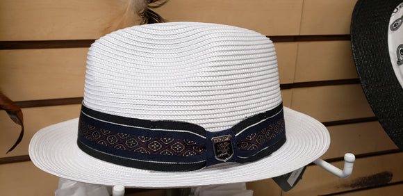 Stacey Adams White Straight Brim - Chicano Spot