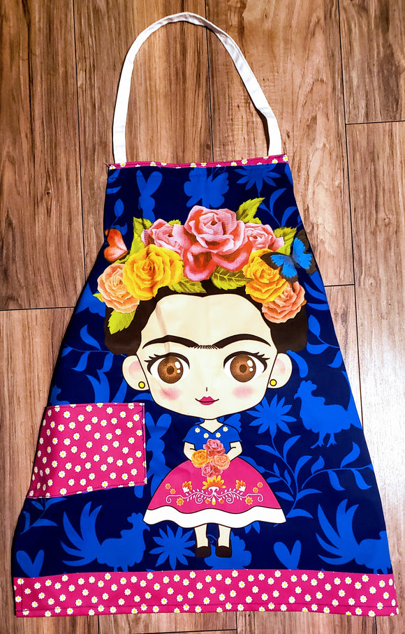 Frida Pink Pocket Blue Background Apron - Chicano Spot
