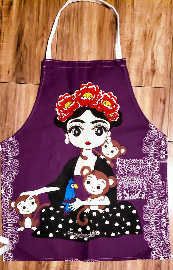 Frida Purple Background Apron - Chicano Spot