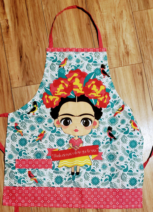 Frida with turquoise Background Apron - Chicano Spot