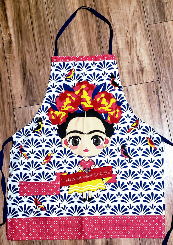 Frida with Blue Background Apron - Chicano Spot
