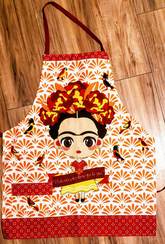 Frida Pink with Orange Background Apron - Chicano Spot