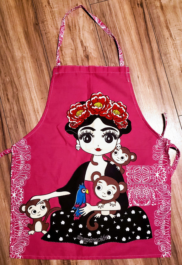 Frida Pink with Monkeys Apron - Chicano Spot