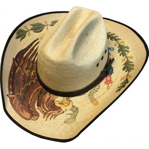 Sahuayo Cattleman White Mexican Eagle Straw hat - Chicano Spot