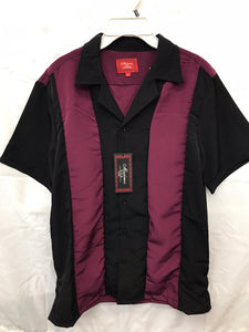 Black and Burgundy  Retro Bowler Button Up