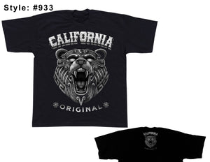 California Bear Black Tee Tall - Chicano Spot